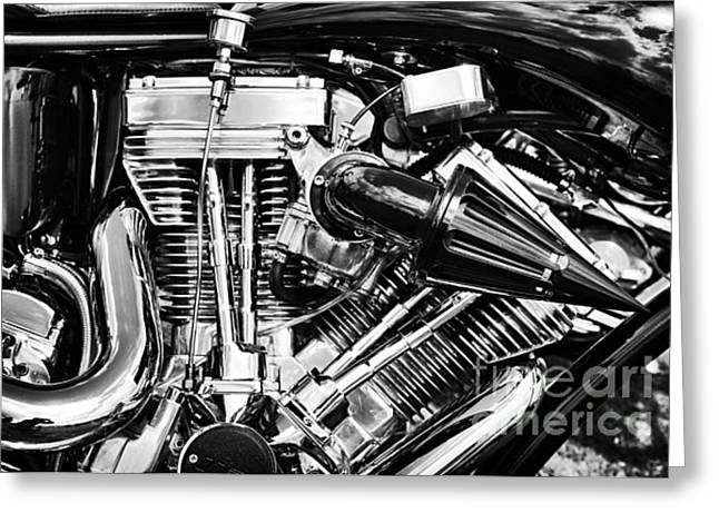 V Twin Greeting Cards - Harley Davidson Chrome Engine Greeting Card by Tim Gainey