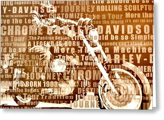 Cycle Mixed Media Greeting Cards - Harley Davidson Collage Greeting Card by Marsha Heiken