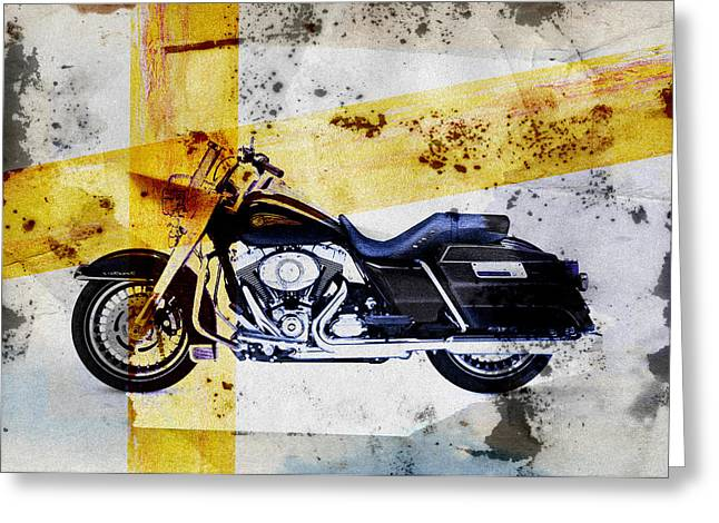 Seated Digital Art Greeting Cards - Harley Davidson Greeting Card by David Ridley