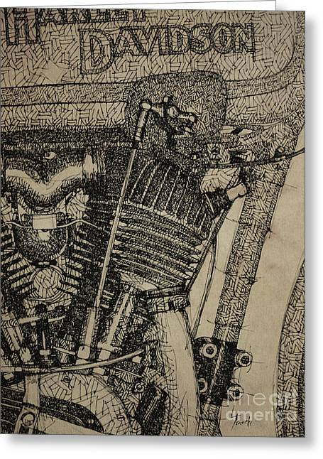 Handmade Drawings Greeting Cards - Harley Davidson Engine Detail Greeting Card by Pablo Franchi