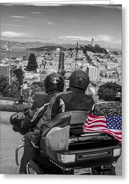 San Fransico Greeting Cards - Harley Davidson driving down Lombard  Street San Francisco  Greeting Card by John McGraw