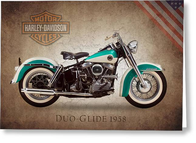 Motorcycle Greeting Cards - Harley Davidson Duo-Glide 1958 Greeting Card by Mark Rogan