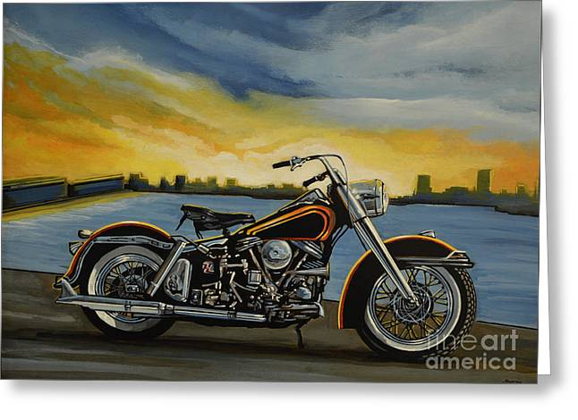 Machine Paintings Greeting Cards - Harley Davidson Duo Glide Greeting Card by Paul Meijering