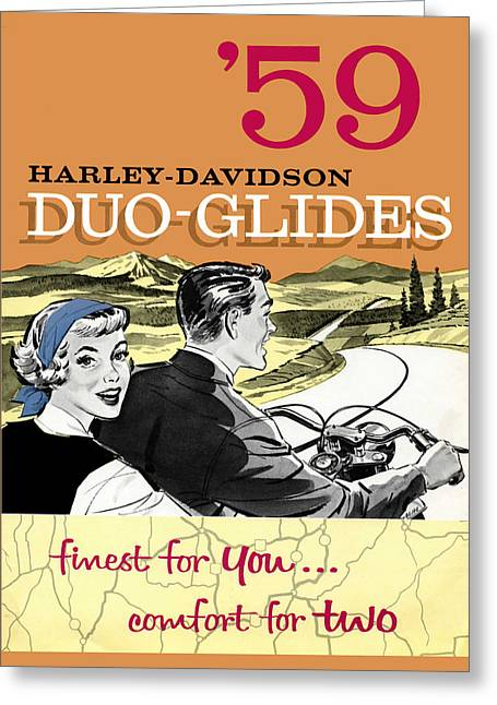 Glide Greeting Cards - Harley Davidson Duo-Glides 59 Greeting Card by Mark Rogan