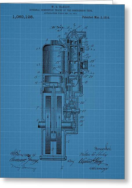 Mechanics Mixed Media Greeting Cards - Harley Davidson Engine Blueprint Greeting Card by Dan Sproul