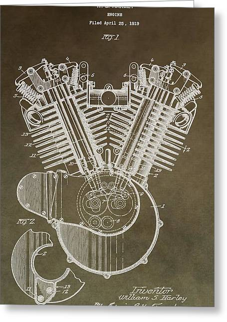 Mechanics Mixed Media Greeting Cards - Harley Davidson Engine Greeting Card by Dan Sproul