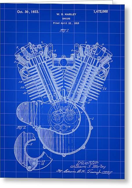 Recently Sold -  - Iron Greeting Cards - Harley Davidson Engine Patent 1919 - Blue Greeting Card by Stephen Younts