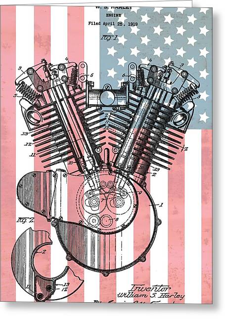 Mechanics Mixed Media Greeting Cards - Harley Davidson Engine Patent American Flag Greeting Card by Dan Sproul