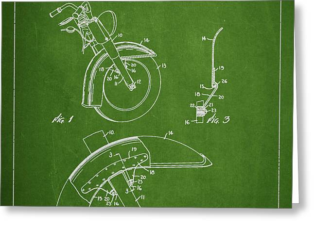 Harley Davidson Fender Construction Patent Drawing From 1949 - Green Greeting Card by Aged Pixel