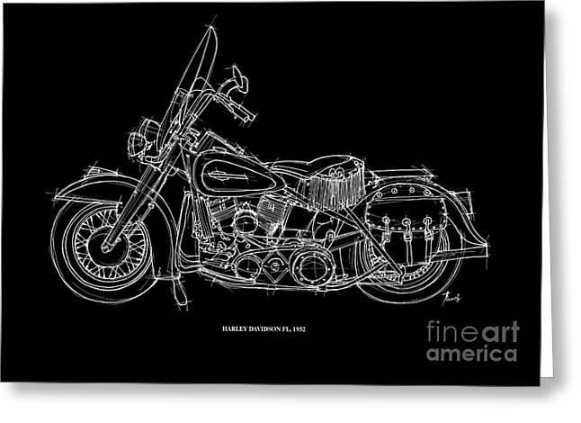 Motorcycle Pastels Greeting Cards - Harley Davidson FL 1952 Greeting Card by Pablo Franchi