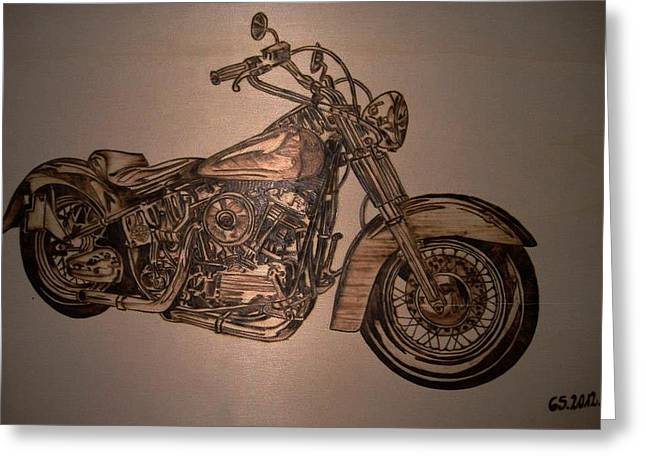 Motorcycles Pyrography Greeting Cards - Harley Davidson Greeting Card by G S