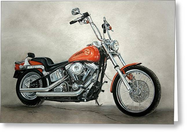 Motorcycles Pastels Greeting Cards - Harley Davidson Greeting Card by Heather Gessell