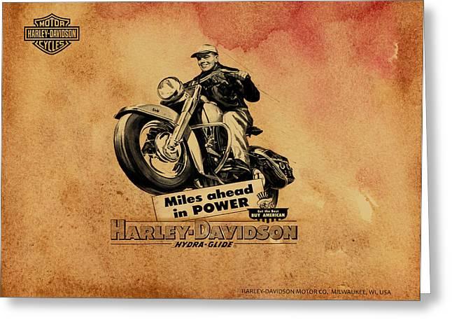 Glide Greeting Cards - Harley Davidson Hydra-Glide 1953 Greeting Card by Mark Rogan