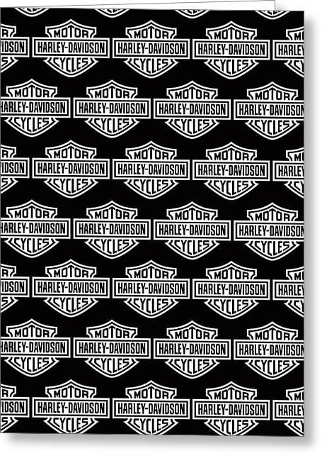 Harleys Greeting Cards - Harley Davidson logo black phone case Greeting Card by Mark Rogan