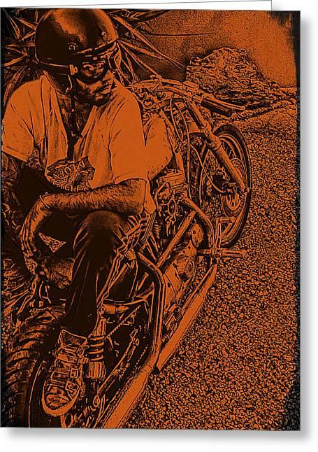 Motorcycles Pyrography Greeting Cards - Harley Davidson Greeting Card by Marina Burrascano