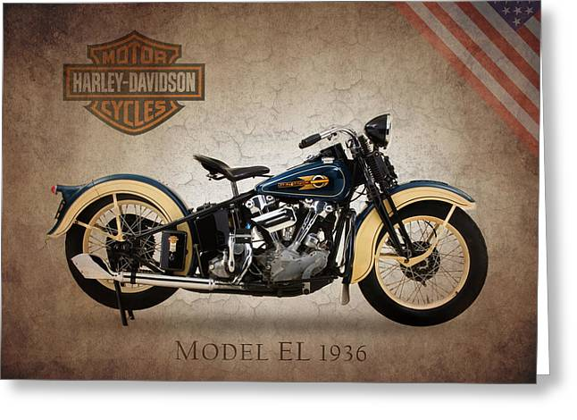 Transport Greeting Cards - Harley Davidson Model EL Greeting Card by Mark Rogan