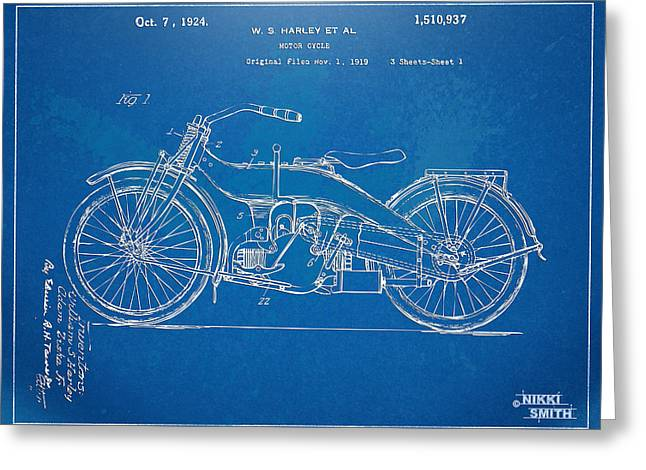 Motorcycle Digital Art Greeting Cards - Harley-Davidson Motorcycle 1924 Patent Artwork Greeting Card by Nikki Marie Smith