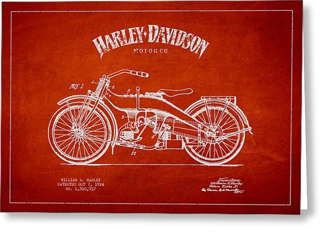 Harley Davidson Motorcycle Patent Drawing From 1924 Greeting Card by Aged Pixel