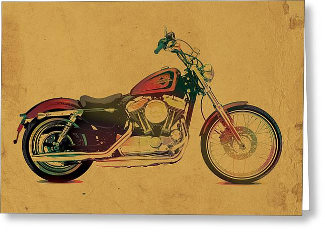 Harley Davidson Motorcycle Profile Portrait Watercolor Painting On Worn Parchment Greeting Card by Design Turnpike