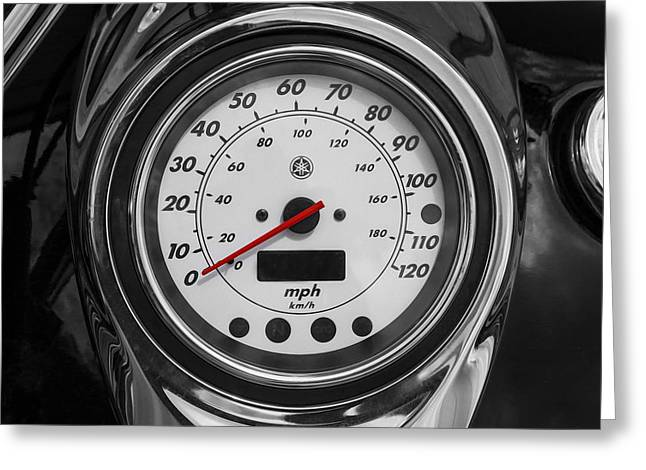 Custom Roadster Greeting Cards - Harley Davidson Motorcycle Speedometer Harley Bike BW  Greeting Card by Rich Franco