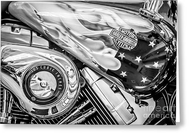 Two Bikes Greeting Cards - Harley Davidson Motorcycle Stars and Stripes Fuel Tank - Black and White Greeting Card by Ian Monk