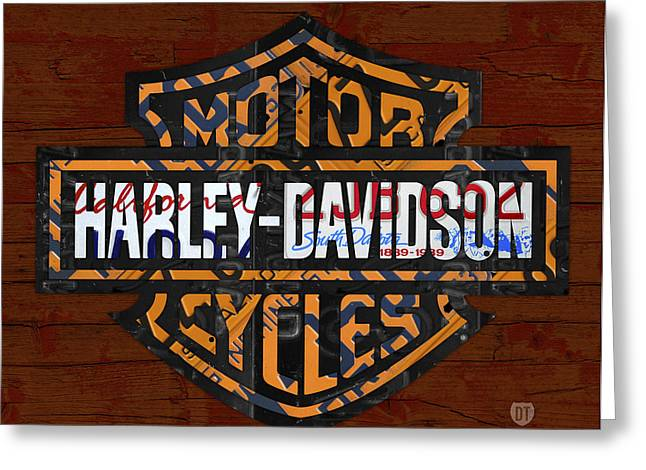 Motorcycles Greeting Cards - Harley Davidson Motorcycle Vintage Logo Recycled License Plate Art Greeting Card by Design Turnpike