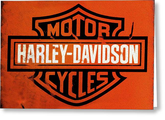 Old Signs Greeting Cards - Harley Davidson Motorcycles Greeting Card by Mark Rogan