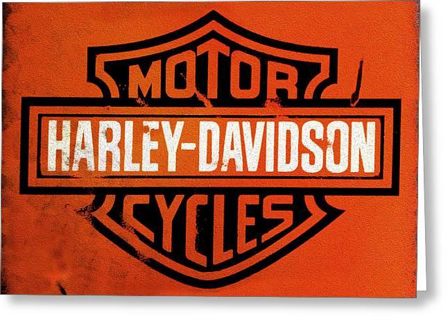 Old Sign Greeting Cards - Harley Davidson Motorcycles Greeting Card by Mark Rogan