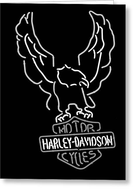 Signed Photographs Greeting Cards - Harley Davidson Neon Sign -0978bw Greeting Card by Jill Reger