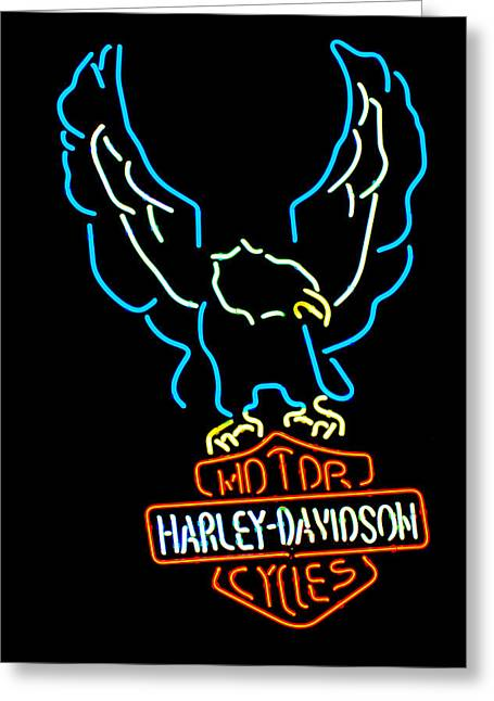 Signed Photographs Greeting Cards - Harley Davidson Neon Sign Greeting Card by Jill Reger