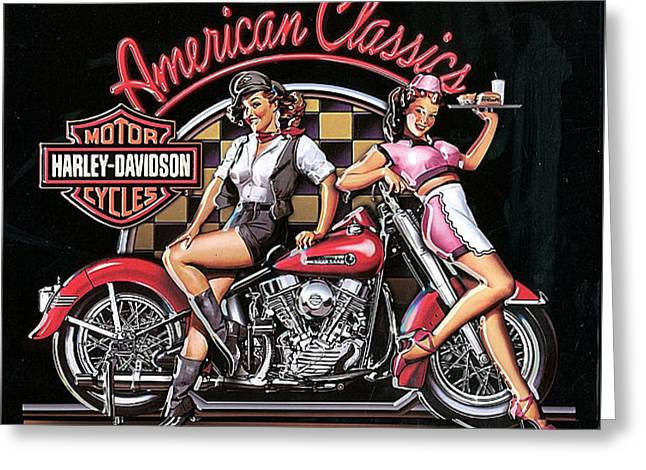 Ad Greeting Cards - Harley Davidson Old School AD Greeting Card by Marvin Blaine