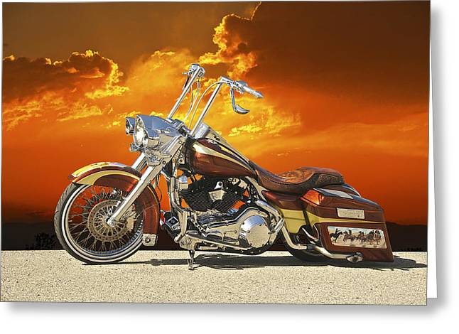 Classic Saddle Greeting Cards - Harley Davidson Outlaw Bagger II Greeting Card by Dave Koontz