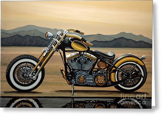 Chopper Greeting Cards - Harley Davidson Greeting Card by Paul Meijering