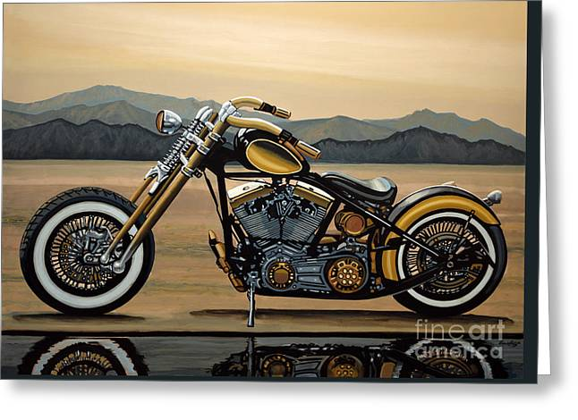 Hogs Greeting Cards - Harley Davidson Greeting Card by Paul Meijering