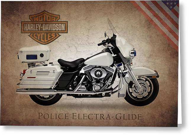 Harley Davidson Police Electra Glide Greeting Card by Mark Rogan