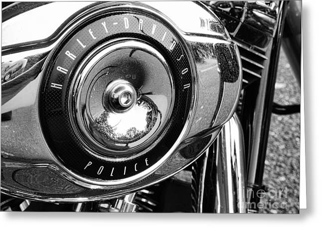 Law Enforcement Greeting Cards - Harley Davidson Police Motorcycle Greeting Card by Paul Ward