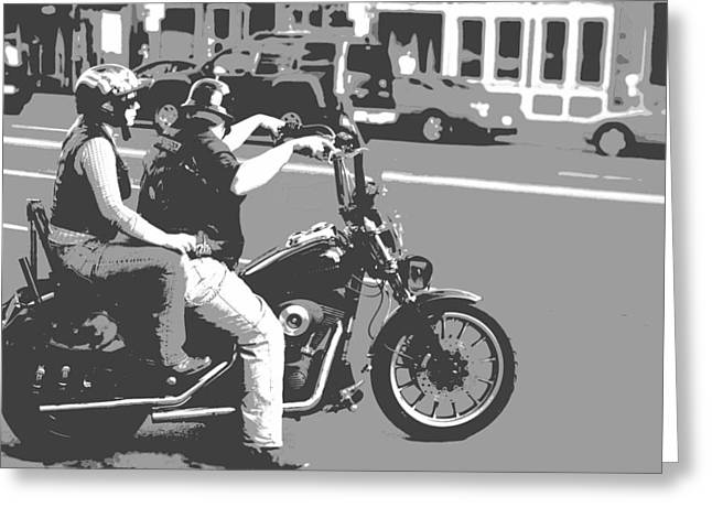 Chrome Mixed Media Greeting Cards - Harley Davidson Poster Greeting Card by Dan Sproul