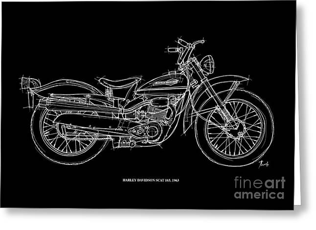 White On Black Greeting Cards - Harley Davidson Scat 165 1963 Greeting Card by Pablo Franchi