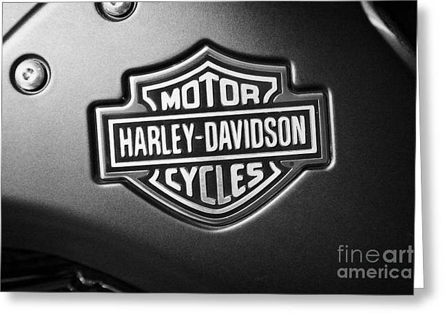 American Icons Photographs Greeting Cards - Harley Davidson Shield And Bar Logo On A V-rod Bike In Orlando Florida Usa Greeting Card by Joe Fox