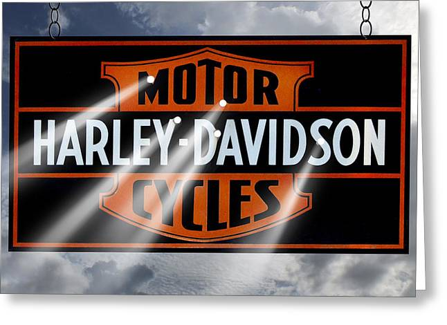 Vintage Sign Greeting Cards - Harley Davidson Sign Greeting Card by Mike McGlothlen