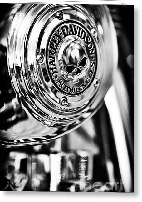 Tim Photographs Greeting Cards - Harley Davidson Skull Casing Greeting Card by Tim Gainey