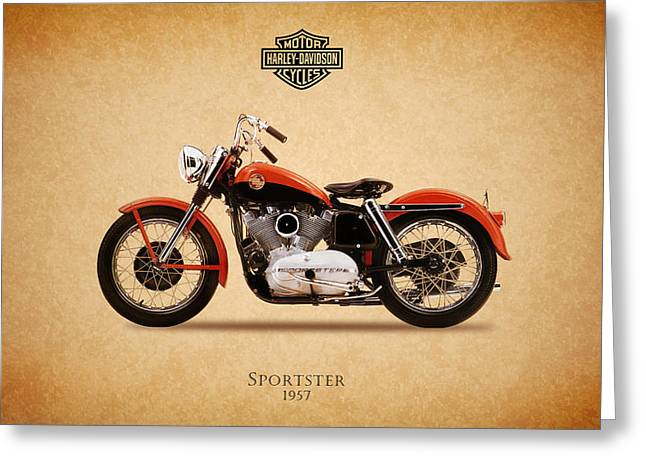 Motorcycles Greeting Cards - Harley Davidson Sportster 1957 Greeting Card by Mark Rogan