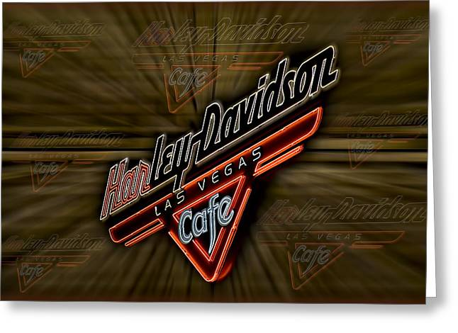 Deli Greeting Cards - Harley Davidson Greeting Card by Susan Candelario