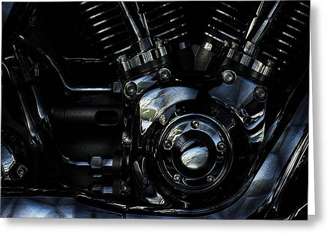 Warp Greeting Cards - Harley Davidson V Twin 2 Greeting Card by Jack Zulli