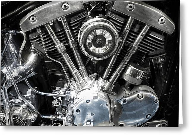 Power Twins Photographs Greeting Cards - Harley Davidson V Twin Greeting Card by Daniel Hagerman