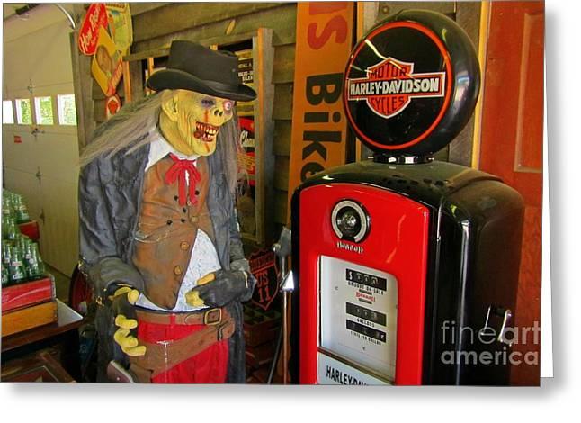 Goul Greeting Cards - Harley Davidson Vintage Gas Pump Greeting Card by John Malone