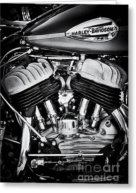 Hogs Greeting Cards - Harley Davidson WLA Monochrome Greeting Card by Tim Gainey