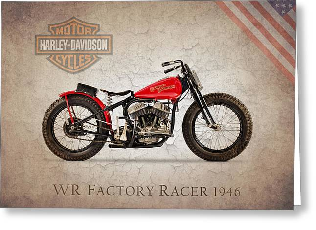 Harley Davidson Greeting Cards - Harley Davidson WR Racer 1946 Greeting Card by Mark Rogan