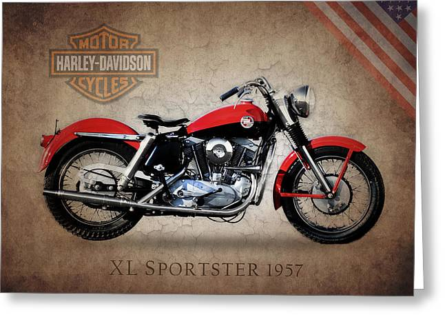 Motorcycles Greeting Cards - Harley Davidson XL Sportster 1957 Greeting Card by Mark Rogan