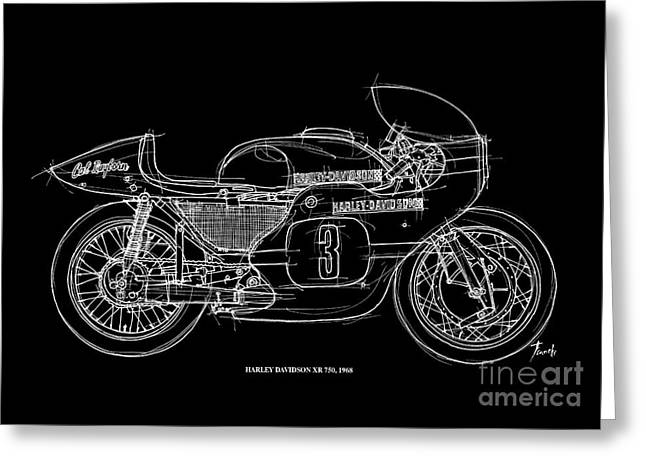 Number 3 Greeting Cards - Harley Davidson XR 750 1968 Greeting Card by Pablo Franchi